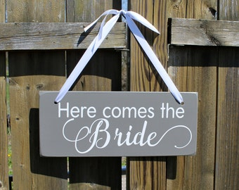 "6"" x 14.5"" LIGHT WEIGHT Wooden Wedding Sign:  Single or Double Sided Here comes the Bride- and they lived happily ever after - Made To Order"