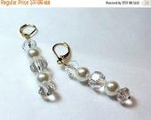 ON SALE Crystal and Pearl Bridal Earrings - Long Earrings