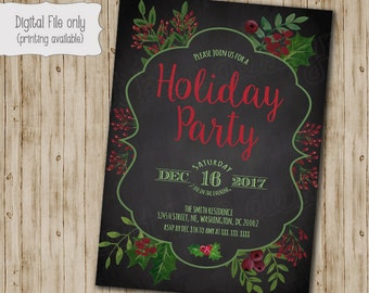 Christmas Party Invitation, Christmas Party Invites, Holiday Party Invites, Christmas Party Printable, Chalkboard Christmas Party, Office