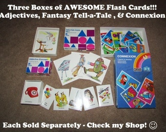 "1970's ""Adjective"" Flash Cards, Box of about 100 Different Word-Picture Cards"