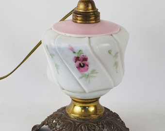 Turn of the Century Milkglass Handpainted Oil Lamp Converted to Electric Lamp