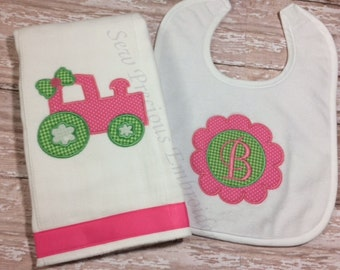 Personalized Bib and Burp Cloth Set with Flower Monogram and Applique Tractor Design