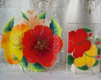 Vintage Art Glass Fusion Plate Set Red Yellow Orange Poppies Hawaii Fused Glass Serving Plate Wall Hanging  1990s