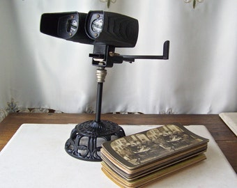 Antique Stereoscope Card Viewer Restored Victorian Era View Cards 21 View Cards ca 1905 Man Cave Bartop Curiosity