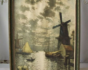 Vintage Sunset Glow Lithograph Signed Heran Chaban 1926 Framed Print Pictorial Review Holland Windmill