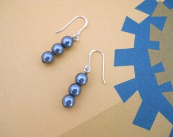 Russian Charcoal Glass Pearls - Sterling Silver