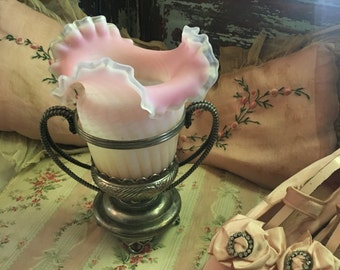 Antique Pairpoint Victorian Brides Basket Vase Silverplate Pink Frosted Ruffled Glass