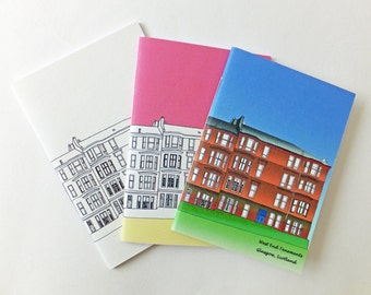 SALE Trio of A6 Glasgow notebooks, blank journals, unlined notebooks, blank notebooks, Pocket notebook, A6, jotter