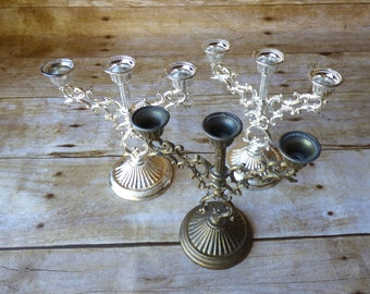 Vintage Candelabra Candle Holder Set of Three Wedding - Holiday Decor