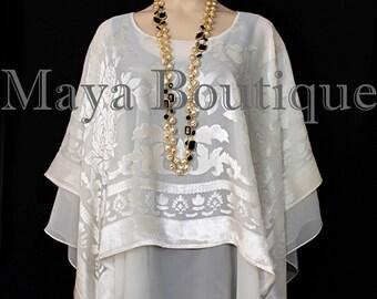 Maya Matazaro Layered Poncho Top Burnout Velvet & Chiffon Ivory Made In USA