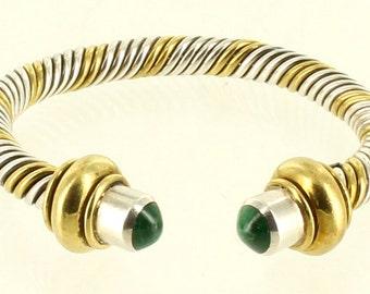 "Vintage Sterling 2 Tone Silver & Gold Tone Heavy Twist Malachite Mexico Cuff Bracelet 6.5"""