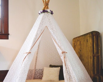 Dreamy Lace Teepee in White Play Tent size