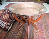 Copper Tray Table with Wooden Spider Legs, Hand Hammered, Round