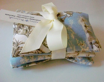 Lavender Sachets set of 3 organic lavender sachets Powder Blue Toile print cotton twill