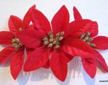 Triple Red Gold Glitter Poinsettia Silk Flower Hair Comb, Christmas Star