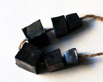 Truthed into peace -- 6 chunky dark metallic faceted ceramic beads