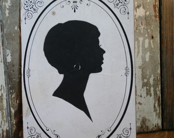 Vintage Silhouette - Woman - Assemblage, Mixed Media, Altered Art