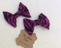 Orchid purple zebra print fabric hair bow set, girls hair bows, baby hair bows