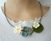 Thumbelina Necklace  crochet necklace, crochet fairy tales, crochet stories, crochet lily pad, butterfly, cherry blossom flower