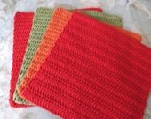 4 Cotton Crochet Dishcloths 11 ""