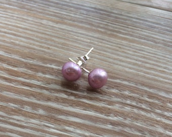 Pearl stud earrings 6mm lilac Freshwater Pearls and 925 sterling silver UK Make