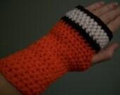 Cleveland Browns Football Fingerless Mittens Gloves Hand Crocheted