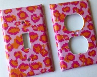 Pink Leopard Single Light Switch Plate Cover Set / Light Switchplate / Leopard Room Decor / Pink Leopard Decor / Leopard Nursery Decor