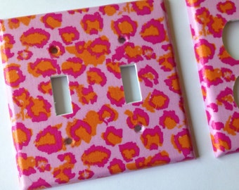 Pink Leopard Double Light Switch Cover / Light Switchplate / Leopard Room Decor / Pink Leopard Decor / Leopard Nursery Decor/ Bathroom Decor