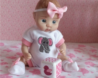 """4 PC Onesie Set for a 5""""-6"""", 6""""-7"""", 7""""-8"""" or 9""""-10"""" Mini Doll. OOAK type doll. You pick the size. Elephant"""