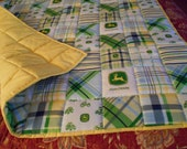 "Handmade  Toddler  Bed or Baby  Crib Size  Quilt Comforter Blanket     36 "" x  56 '' Yellow John Deere Fabric"