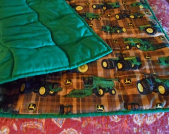 Handmade Baby Quilt - Brown  Plaid Patch Toddler Bed or Crib Size Quilt  Comforter - John Deere