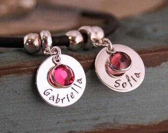 European Style Two charm Mommy Bracelet / Hand Stamped Personalized Charms / Two charms bracelet