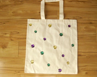 MARDI GRAS Rhinestone Gem Canvas Tote Bag in Purple Green and Gold- New Orleans Mardi Gras beads Parade route throws goods Keepsake reusable