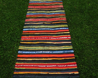 Extra Long Handwoven  vintage look, area rag rug -2.26' x 10.7', random rainbow colour stripes, ready for sale