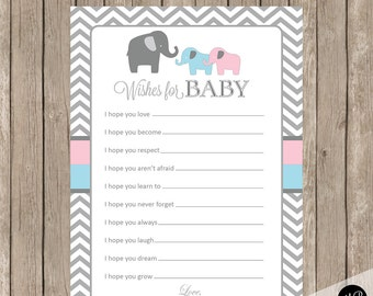 Wishes for Baby Cards - Pink and Blue Elephant Twins Wishes for Baby Shower Activity in Blue and Pink -  INSTANT DOWNLOAD etpb
