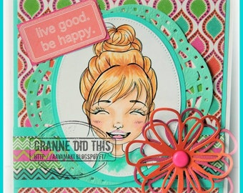 INSTANT DOWNLOAD Digital Stamp Cute Big Eye Girl Smiling with Sunshine and Sentiments - Silly Sally Smiles Image No.307 by Lizzy Love