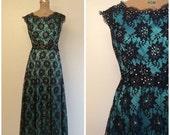 SALE 1960s Lace Party Dress 60s Lace Black Teal Maxi Gown Dress