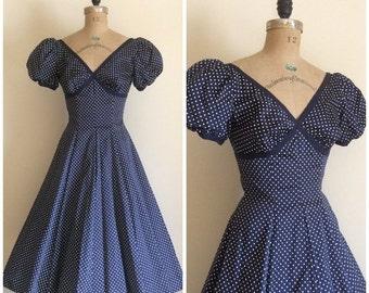 SALE Vintage 1950's Navy Blue Polka Dot Cotton Dress 50's Wedding Party Dress