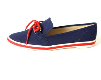 women's Size 7 8 blue leather TOPSIDER sperry SAILING boat DECK shoes
