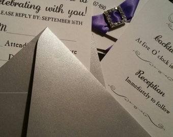 Elegant Pocketfold Wedding Invitation with RSVP, Reception Inserts, Pocketfold Invitations, Elegant Wedding Invitations