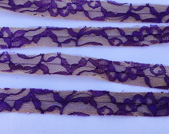 Burlap and Purple Lace Ribbon, 1 Inch Wide, Wedding DIY Supplies, Wedding, Shower, Party, Home Decor, Crafting