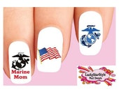 Waterslide Nail Decals Set of 20 - USMC United States Marine Corps Mom Assorted