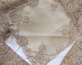 Antique Lace Satin Padded Vintage or Antique Hankie Holder