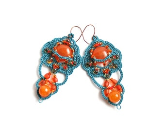 Orange Denim Chandelier Style Dangle Beaded Fiber Tatting Earring