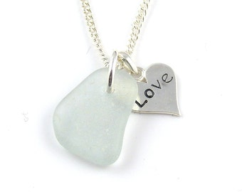 Sea glass and silver love heart charm necklace TINY LOVE