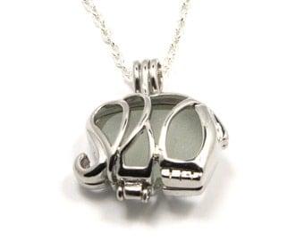 White Sea Glass Necklace Elephant Charm Necklace Elephant Locket Necklace