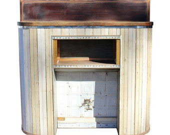 Mantel Mantle Wall Fireplace Fire Place Shelf Shelves Furniture Bead board Reclaimed Wood Lumber Surveying Yardsticks Repurposed Upcycled