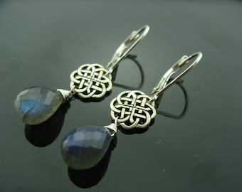 Blue Fire Labradorite Briolette Celtic Knot Sterling Silver Leverback Earrings