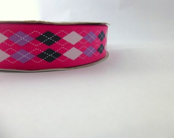 Pink  argyle Ribbon - 1 inch wide
