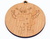 personalized robot Christmas ornament // wooden ornament // holiday decoration